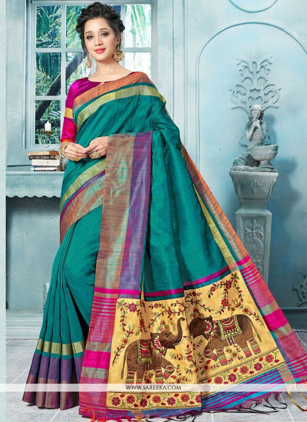 Art Silk Weaving Work Designer Traditional Saree