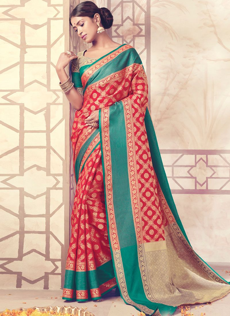 Art Silk Weaving Work Traditional  Saree