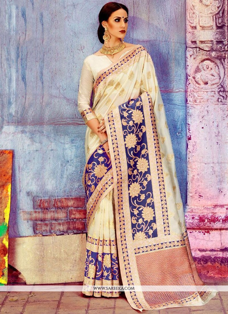 Art Silk White Designer Traditional Saree