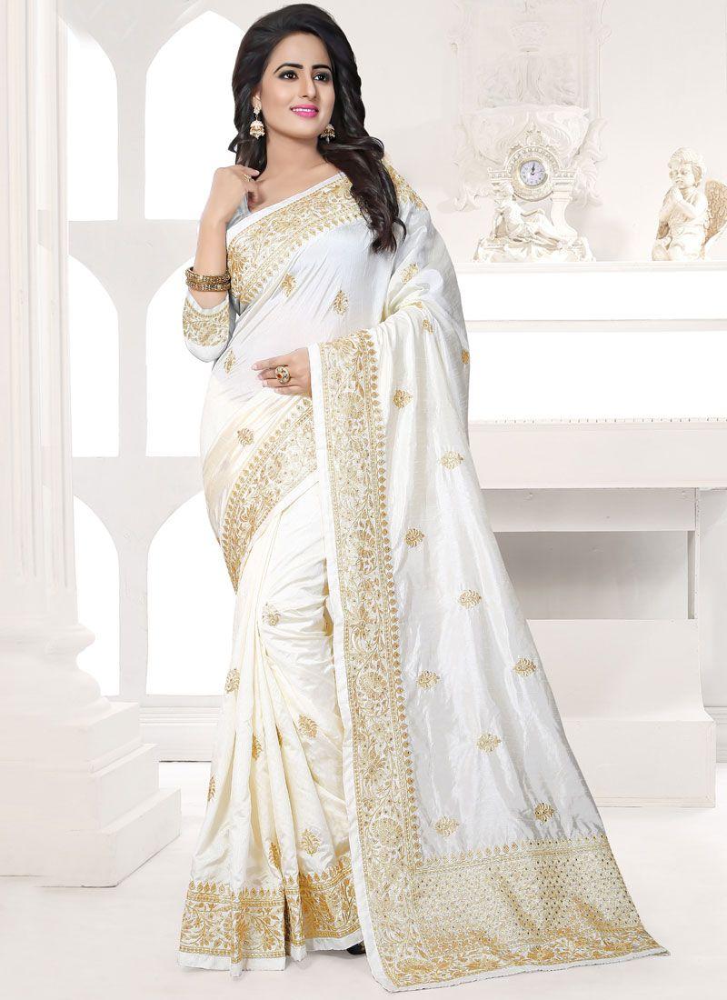 Art Silk White Embroidered Work Designer Traditional Saree