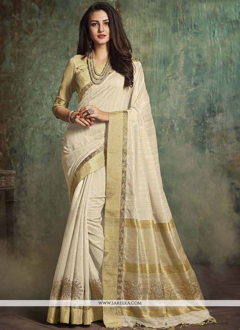 Art Silk White Traditional Designer Saree