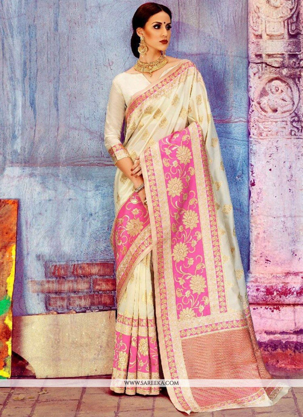 Art Silk White Traditional Designer Saree
