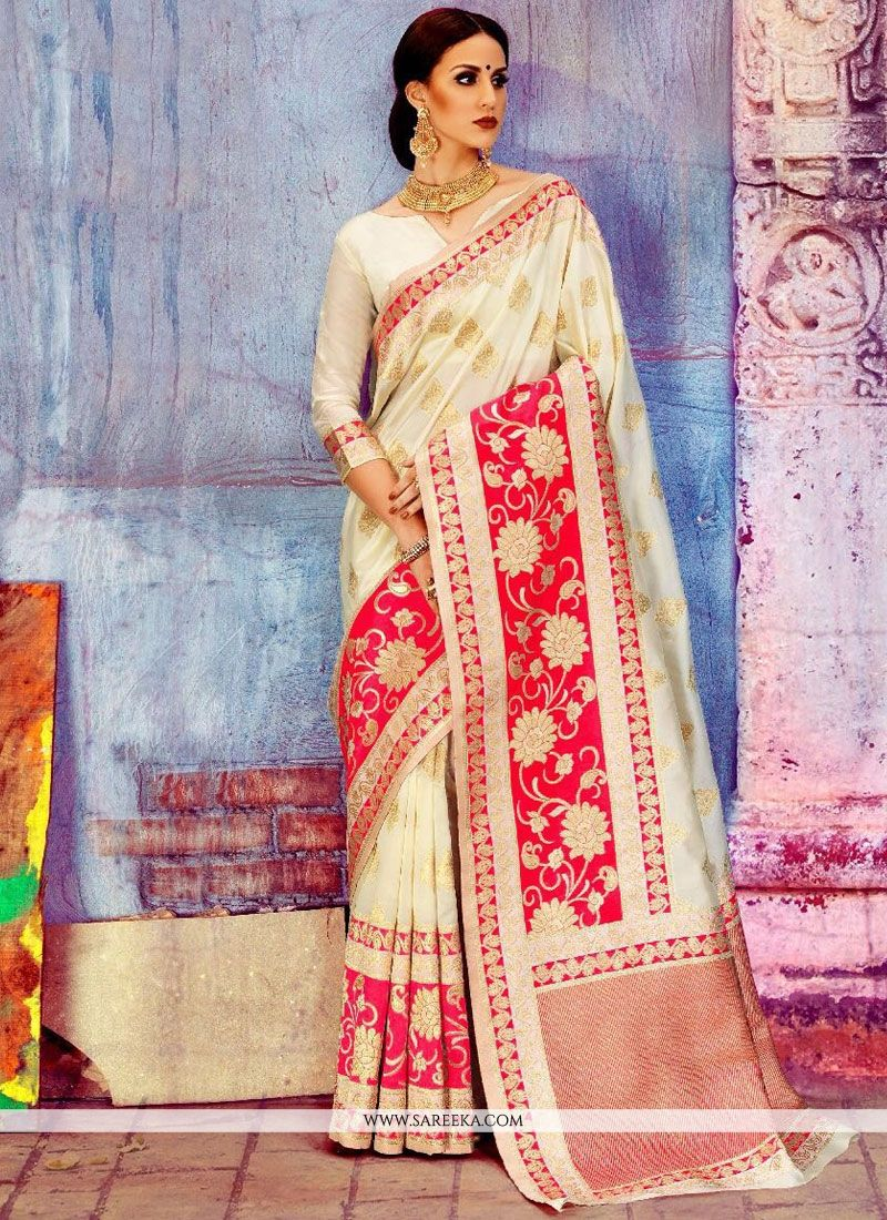 Art Silk White Traditional  Saree