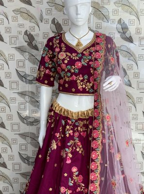 Art Silk Wine Lehenga Choli