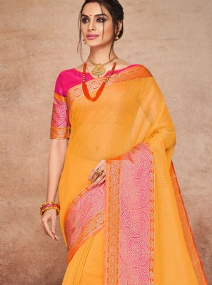 Art Silk Woven Orange Traditional Designer Saree