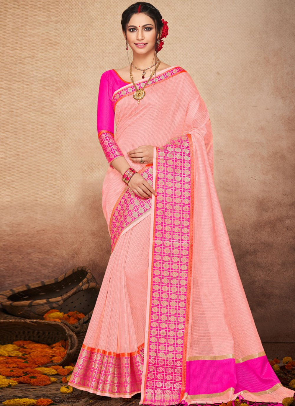 Art Silk Woven Traditional Saree in Pink