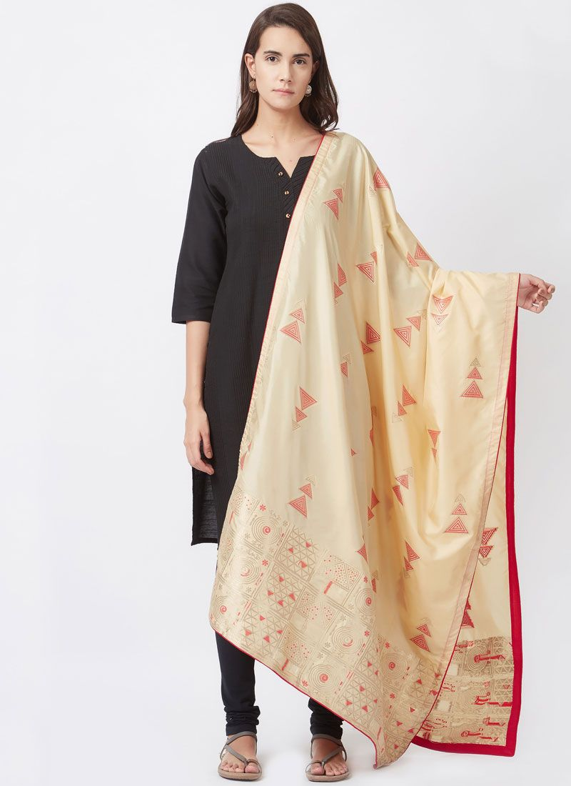 Art Silk woven Work Churidar Suit
