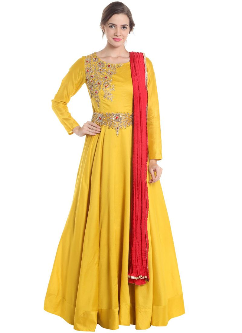 Art Silk Yellow Embroidered Work Floor Length Anarkali Suit