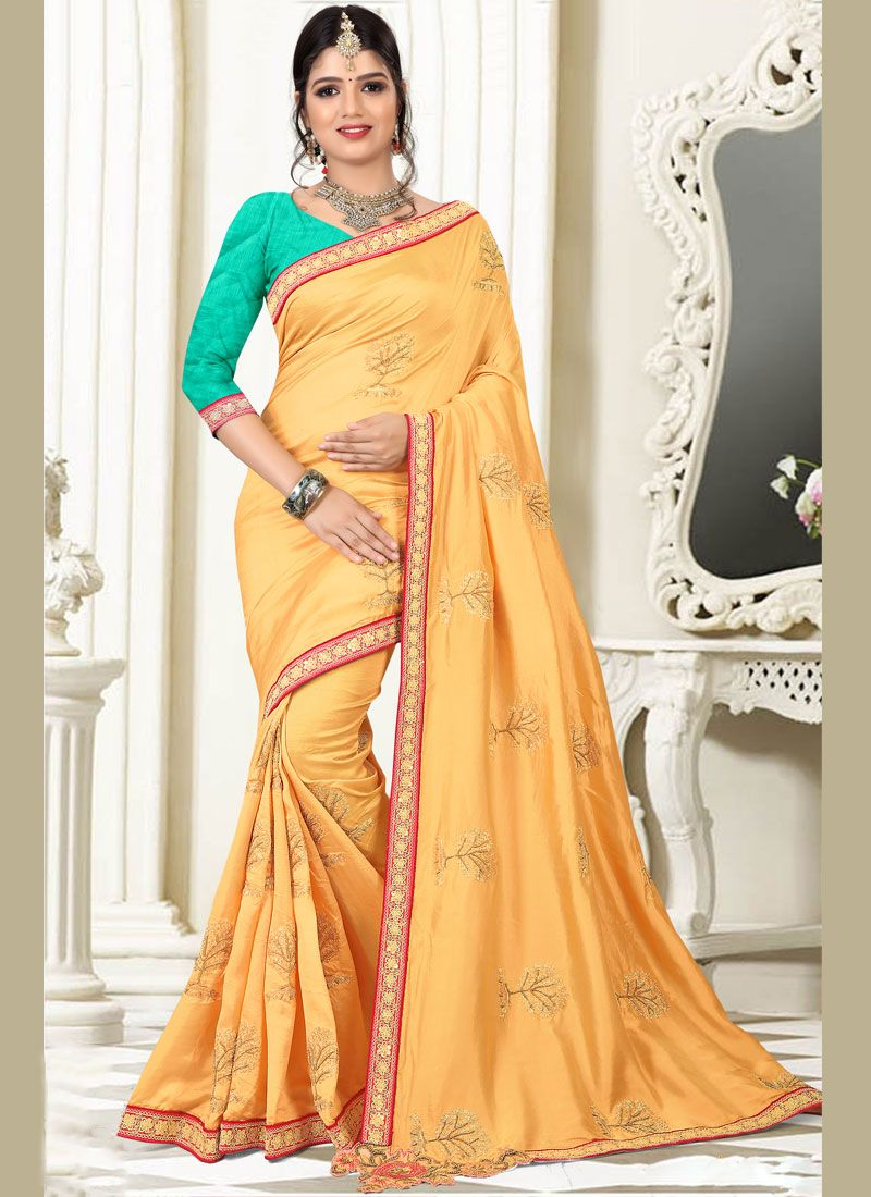 Art Silk Yellow Traditional Designer Saree