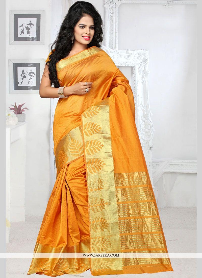 Art Silk Yellow woven Work Traditional  Saree