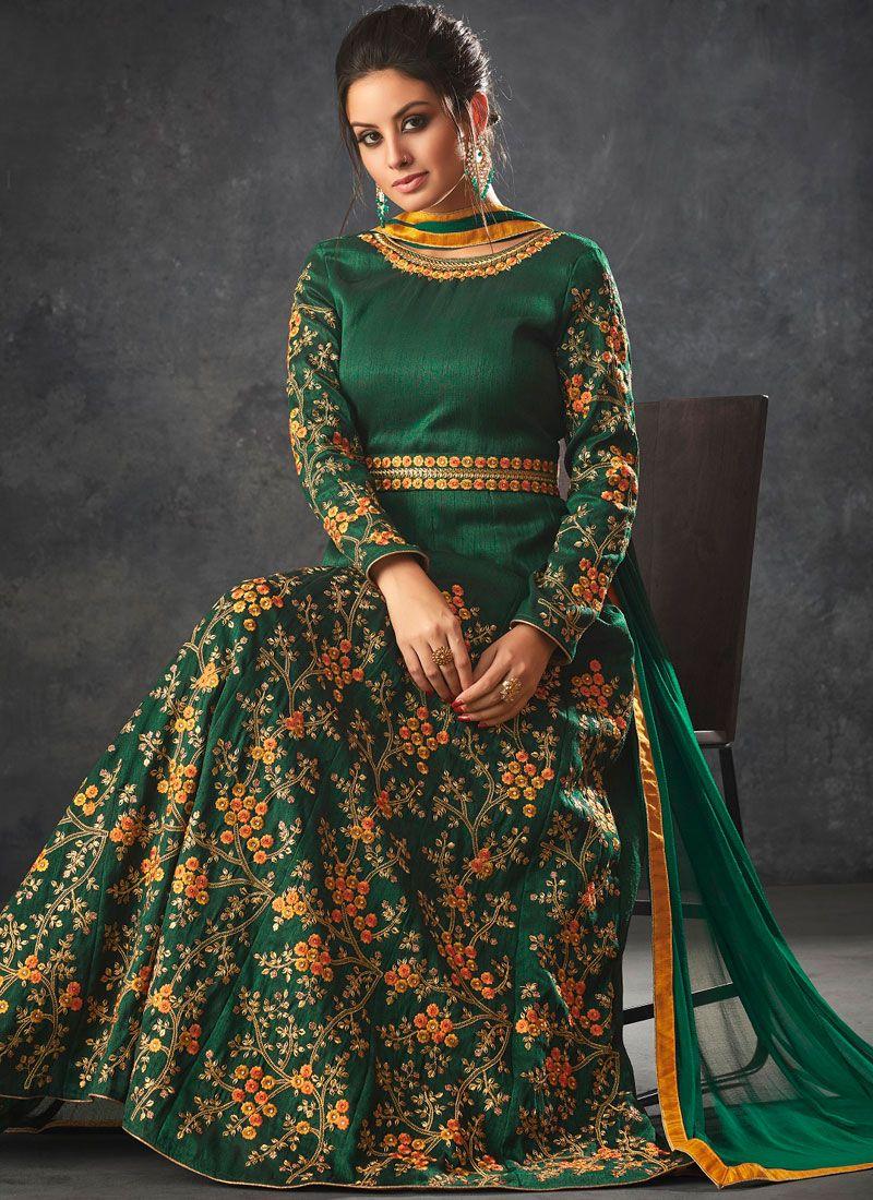 Art Silk Zari Floor Length Anarkali Suit