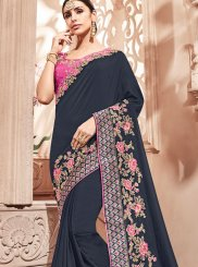 Art Silk Zari Navy Blue Designer Traditional Saree