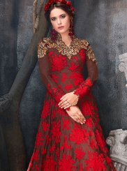 Art Silk Zari Work Floor Length Anarkali Suit
