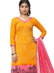 Attractive Yellow Colored Printed Suit