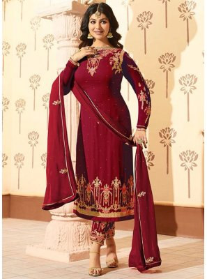 Ayesha Takia Embroidered Work Faux Georgette Pant Style Suit