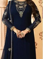 Ayesha Takia Faux Georgette Embroidered Work Blue Pant Style Suit