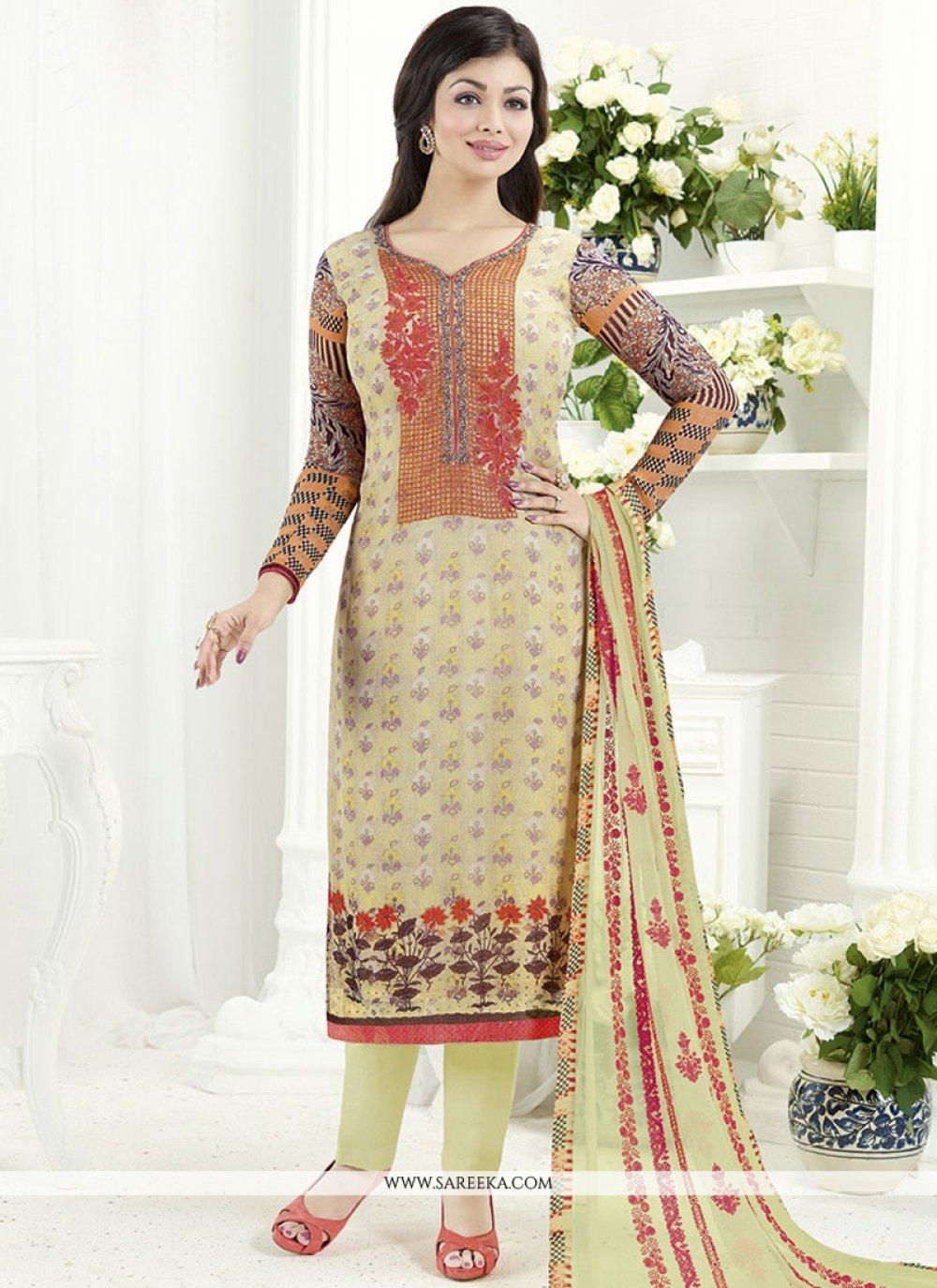 Ayesha Takia Faux Georgette Print Work Churidar Designer Suit