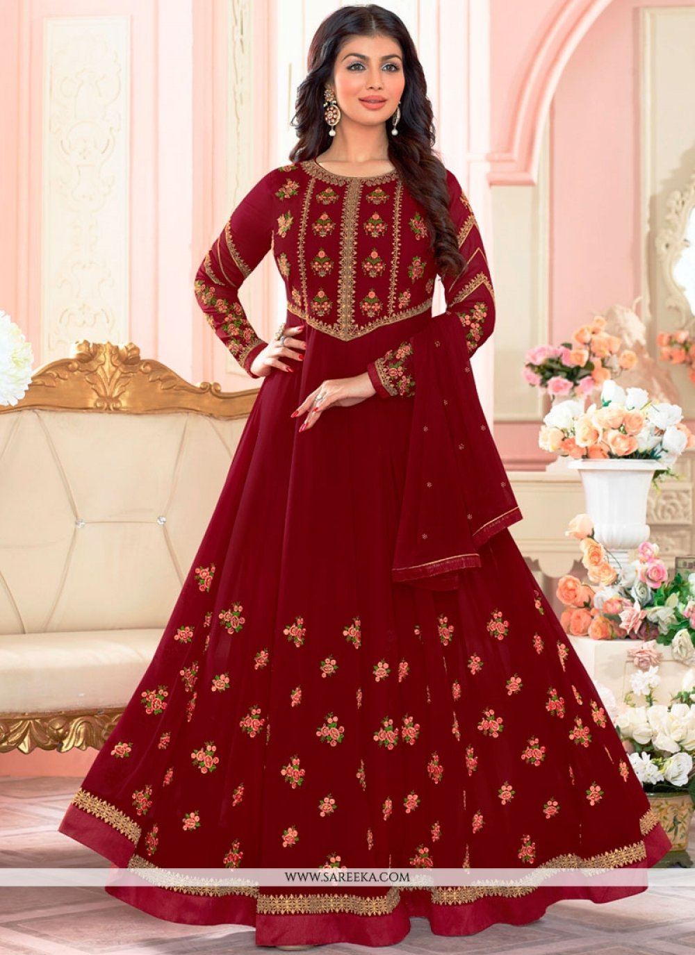 Ayesha Takia Faux Georgette Resham Work Maroon Floor Length Anarkali Suit