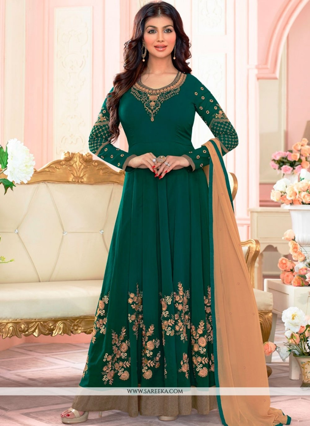 Ayesha Takia Green Floor Length Anarkali Suit