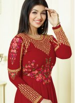 Ayesha Takia Lace Work Red Faux Georgette Floor Length Anarkali Suit