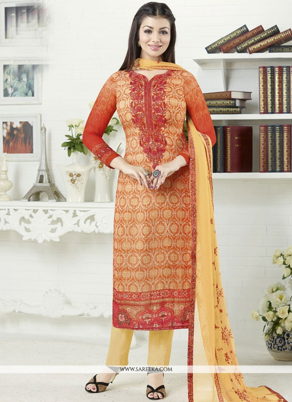 Ayesha Takia Multi Colour Faux Georgette Churidar Designer Suit