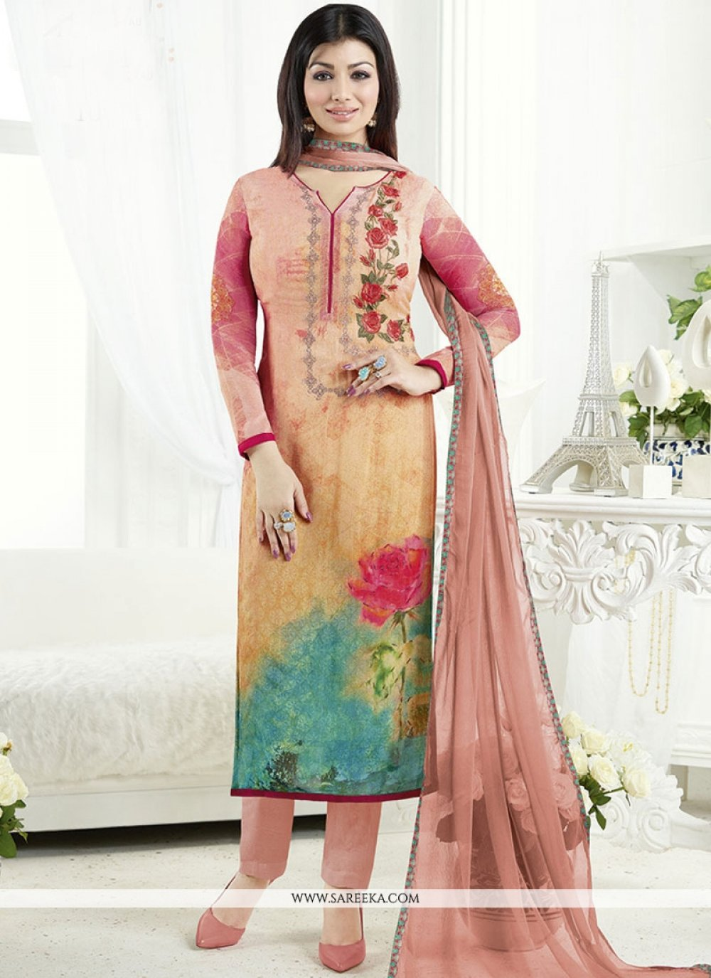 Ayesha Takia Multi Colour Print Work Churidar Designer Suit