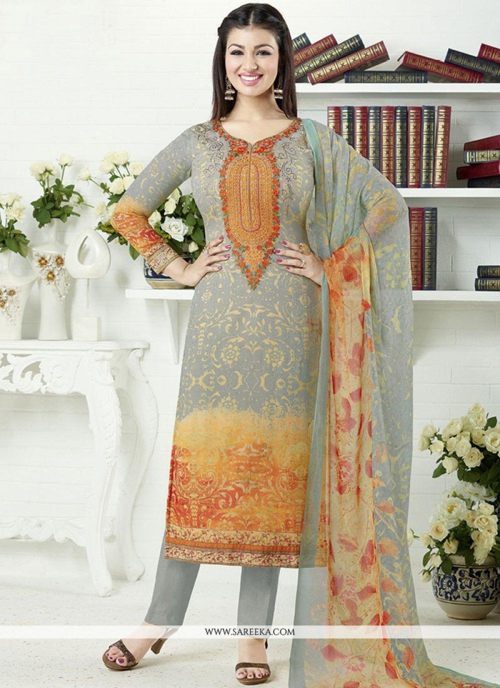 Ayesha Takia Multi Colour Print Work Churidar Designer Suit