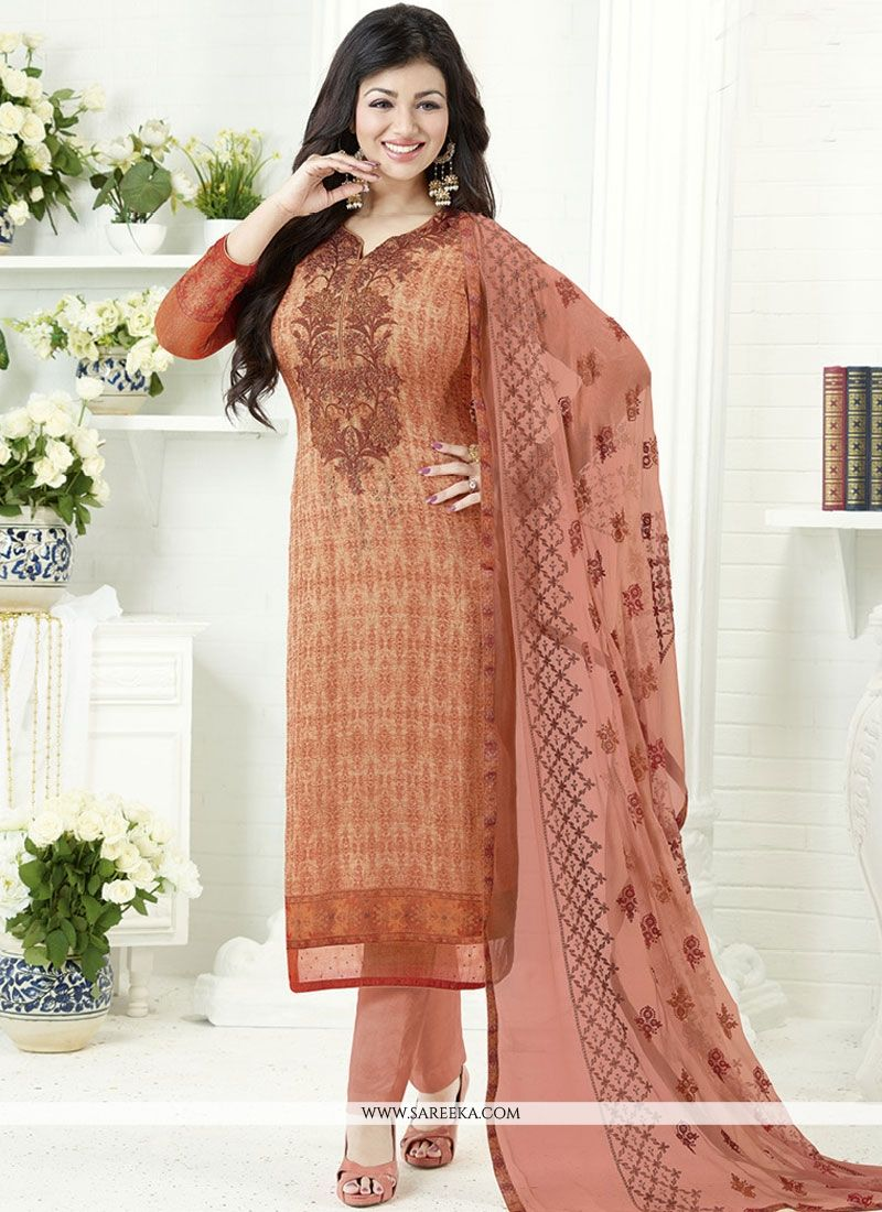 Ayesha Takia Orange Print Work Churidar Designer Suit