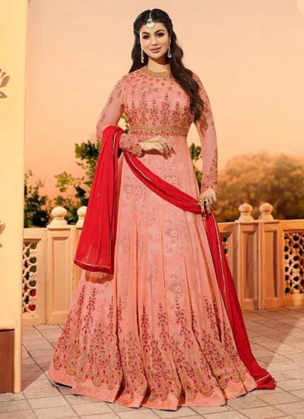 Ayesha Takia Pink Resham Work Floor Length Anarkali Suit