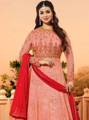 Ayesha Takia Pink Resham Work Floor Length Anarkali Suit