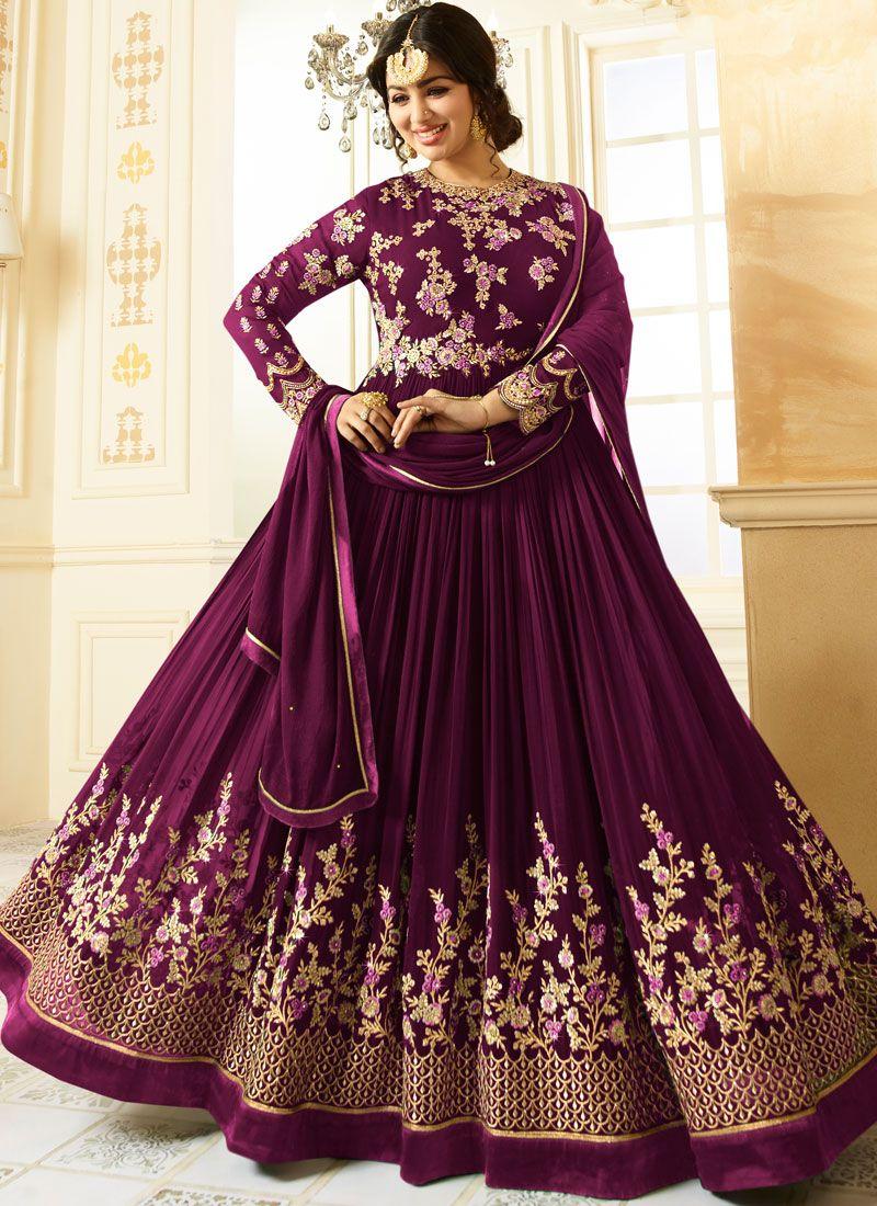 a064cbbaaf Shop Online Ayesha Takia Purple Floor Length Anarkali Suit : 77699 -