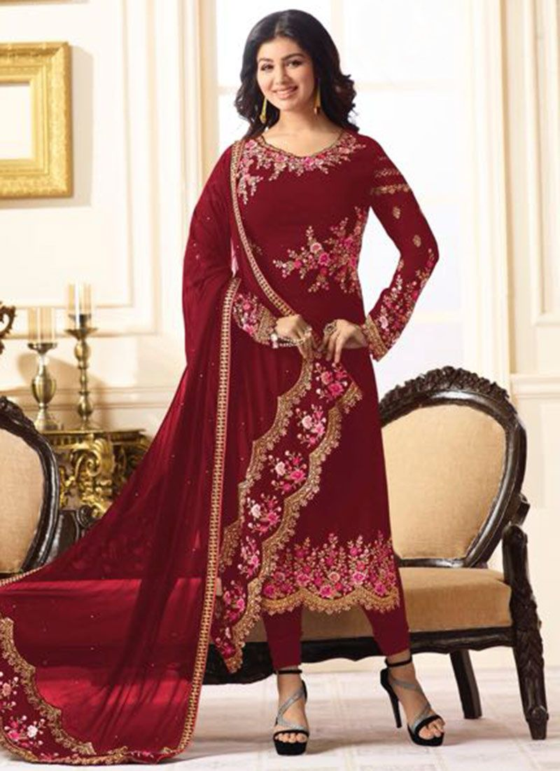 f7e9412a1d Shop Ayesha Takia Red Designer Straight Suit Online : 83244 -