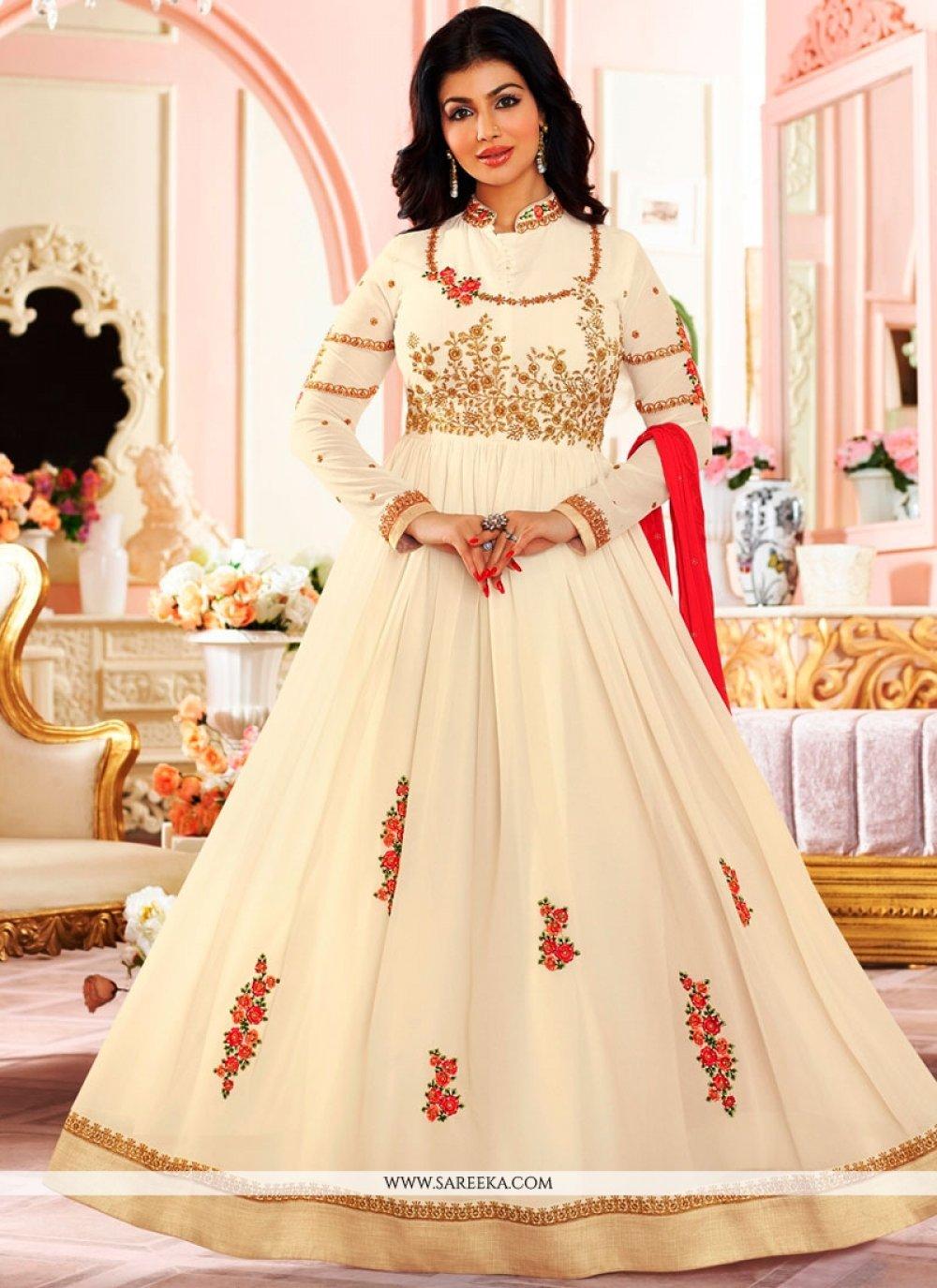 Ayesha Takia White Faux Georgette Floor Length Anarkali Suit