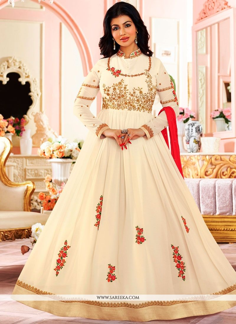 Ayesha Takia White Faux Georgette Floor Length Anarkali Suit