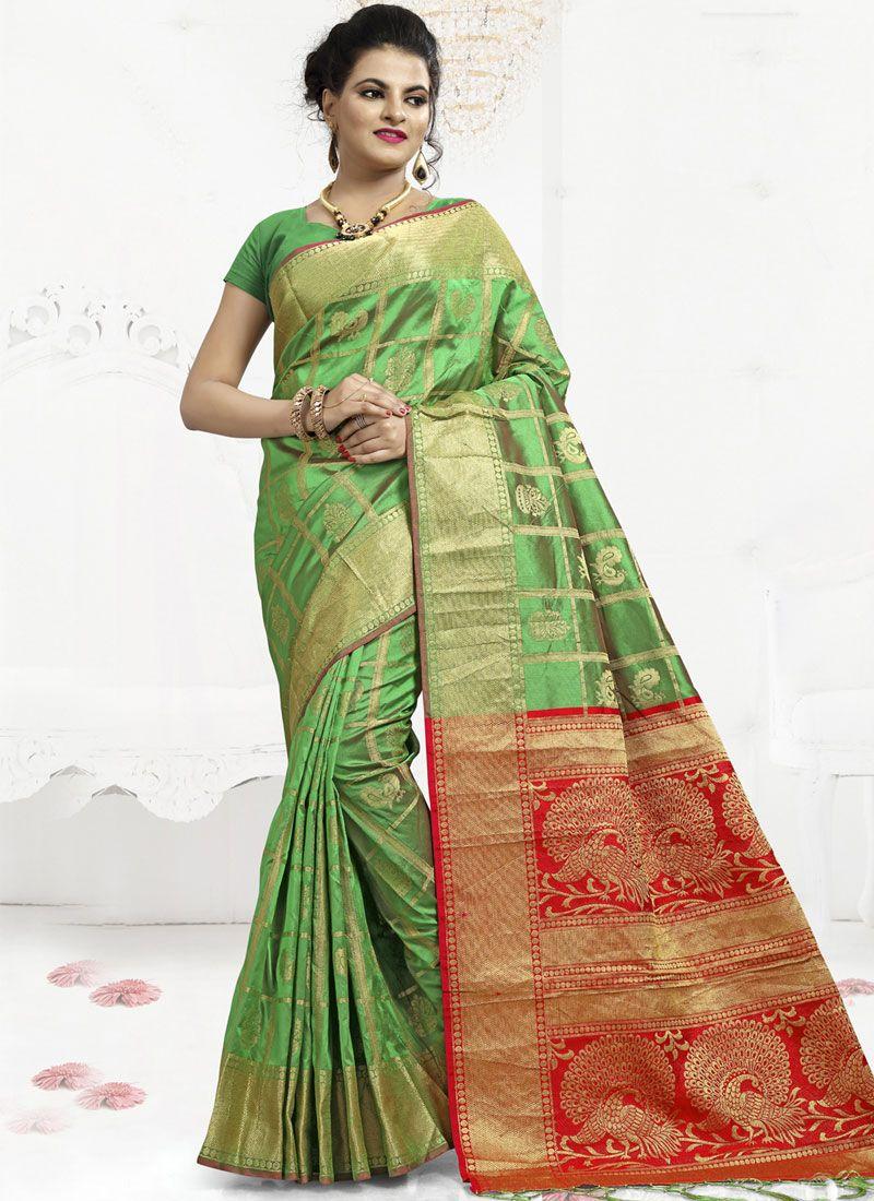 Banarasi Silk Abstract Print Classic Saree in Green