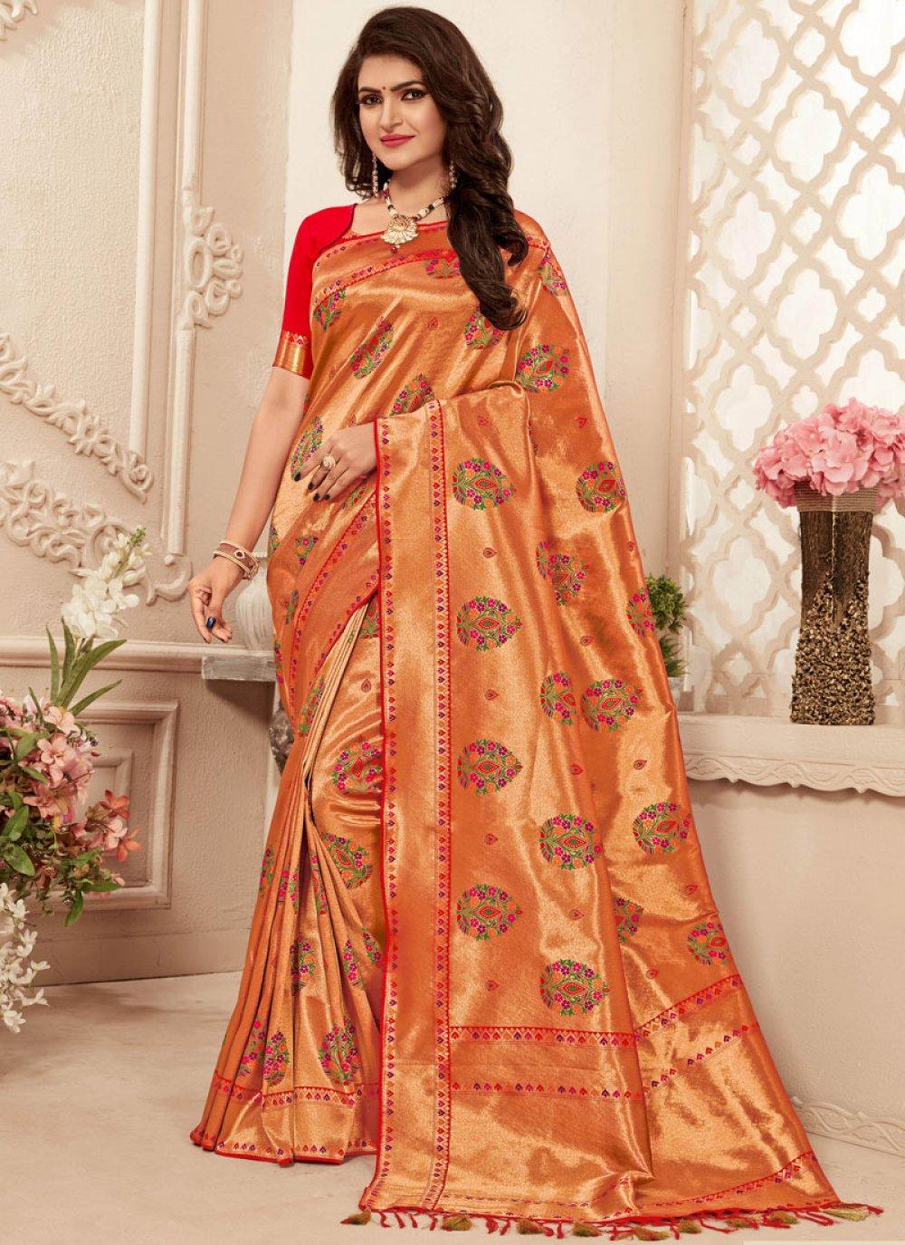 Banarasi Silk Abstract Print Red Trendy Saree