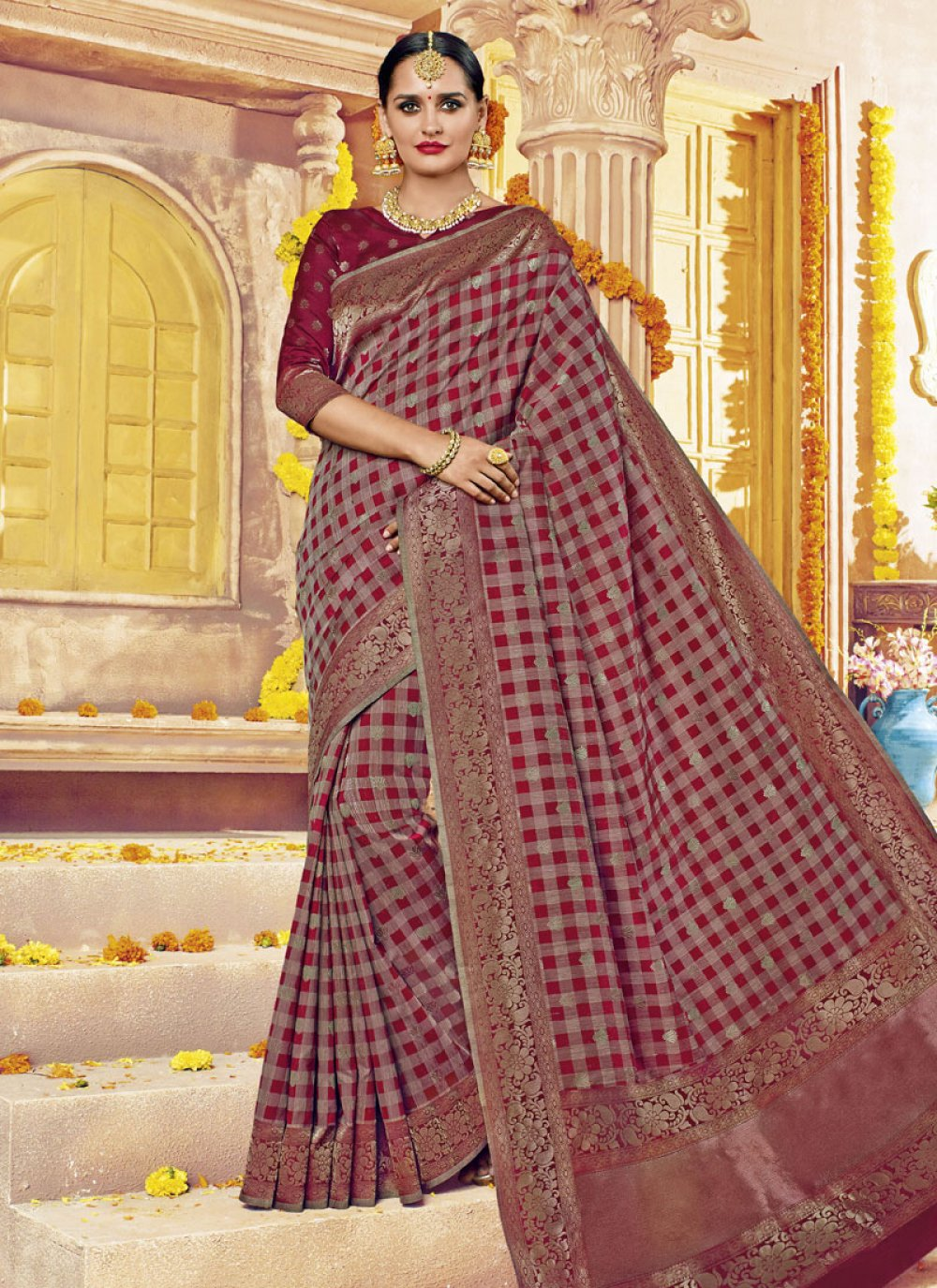 Banarasi Silk Abstract Print Work Classic Saree