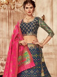 Banarasi Silk Blue Weaving Lehenga Choli
