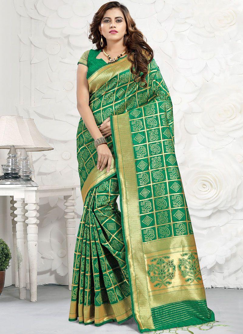 Banarasi Silk Classic Saree in Green