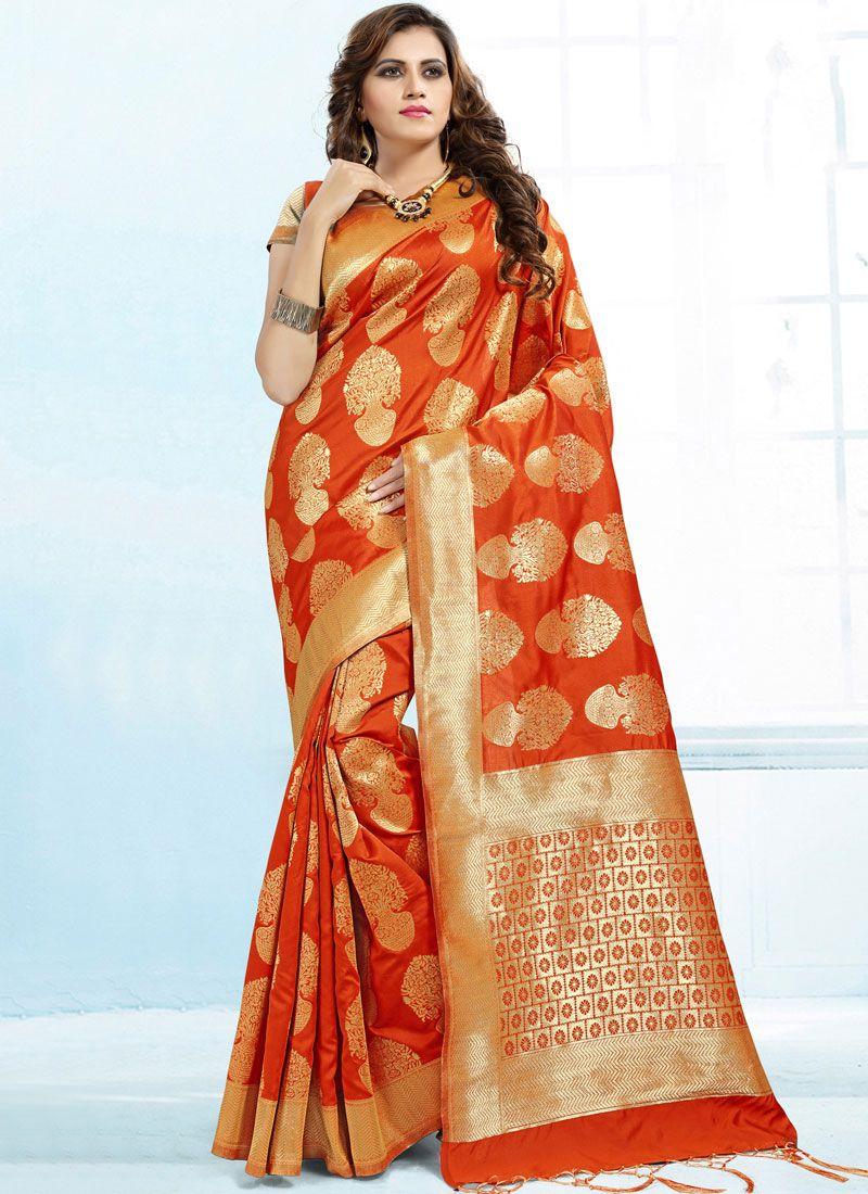 Banarasi Silk Classic Saree in Orange