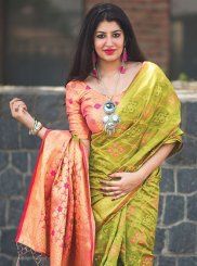 Banarasi Silk Green and Peach Classic Saree