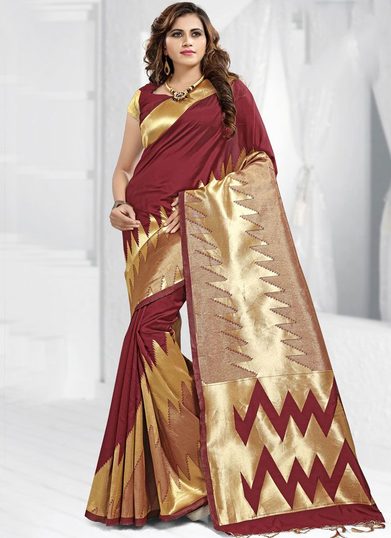 Banarasi Silk Maroon Trendy Saree
