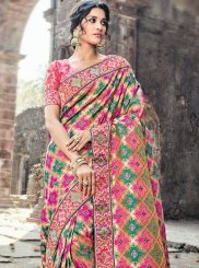Buy Online Banarasi Silk Multi Colour Resham Work Designer Traditional Saree