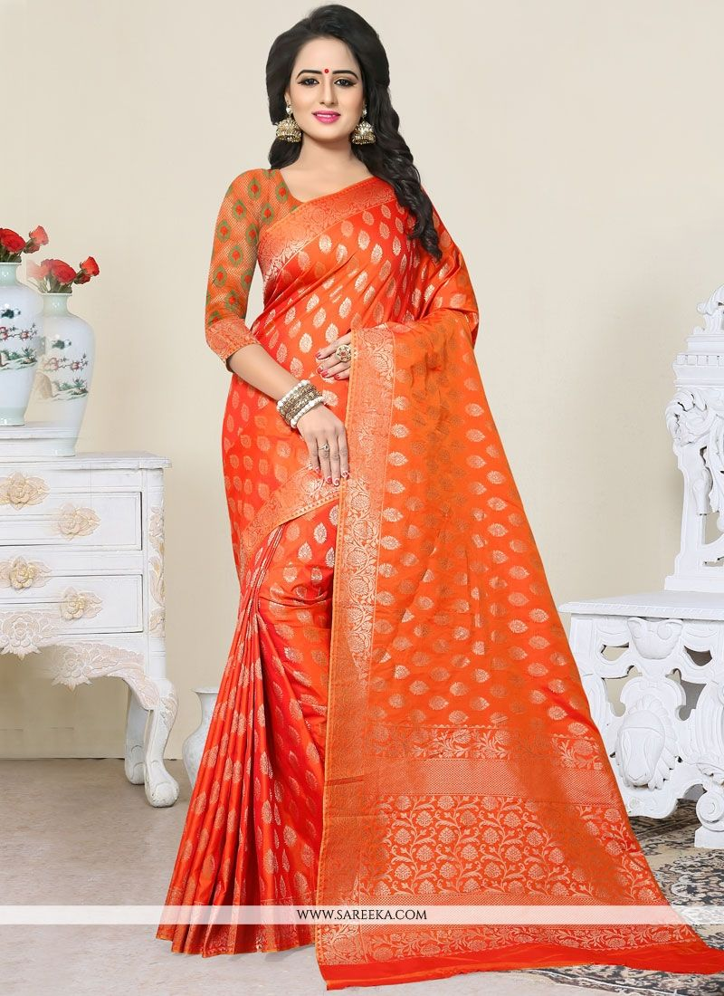 Banarasi Silk Orange Designer Traditional Saree