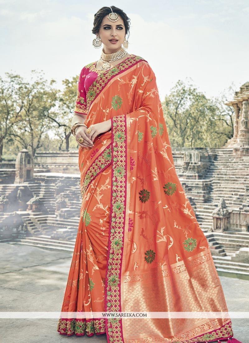 Banarasi Silk Orange Designer Traditional Saree