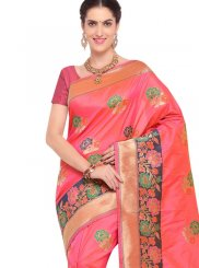 Banarasi Silk Peach Silk Saree