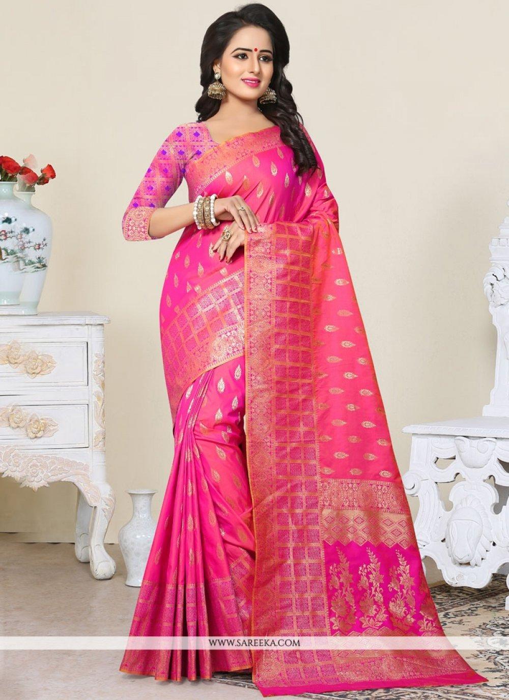 Banarasi Silk Pink Traditional Designer Saree