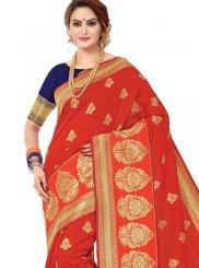 Banarasi Silk Printed Trendy Saree in Red