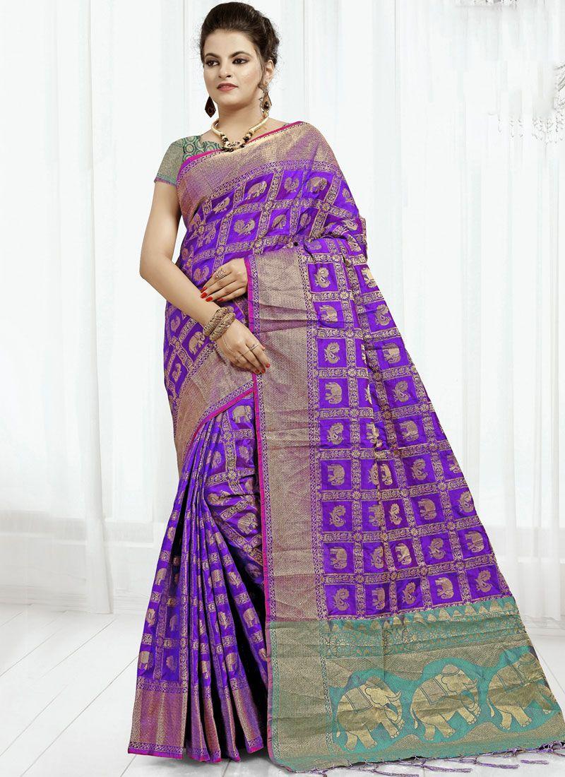 Banarasi Silk Purple Classic Saree