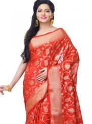 Banarasi Silk Red Classic Designer Saree